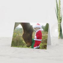 Horse and Child Santa Christmas card