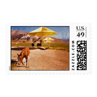 Horse and Christo's Umbrella Project Stamp