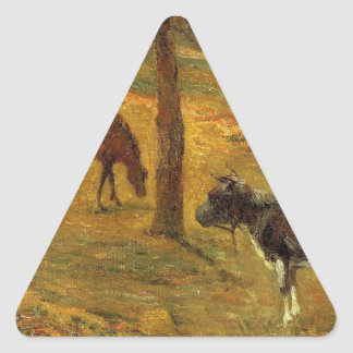 Horse and Cow in a Meadow by Paul Gauguin Triangle Sticker