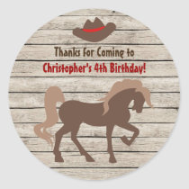 Horse and Cowboy Hat - Barn Wood Western Birthday Classic Round Sticker