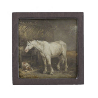 Horse and Dog in a Stable by George Morland Keepsake Box