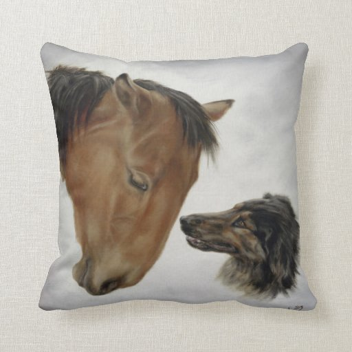 Horse  and Dog Throw Pillow