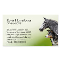 Horse and dog vet appointment and business card