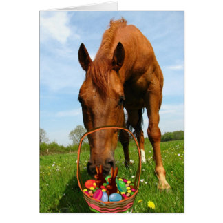 Horse and Easter Basket Card