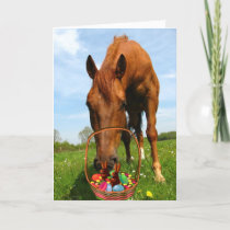 Horse and Easter Basket Holiday Card