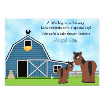 Horse and Farm Baby Shower Invitation for Boys