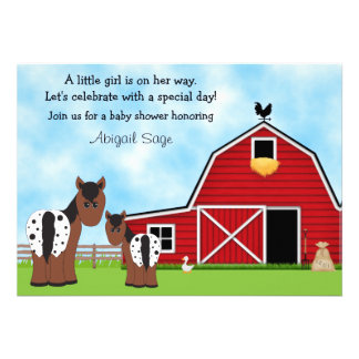 Horse and Farm Baby Shower Invitation for Girls