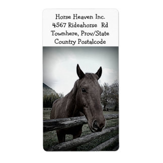 Horse and Farm Fence Label