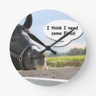 Horse and Floss Round Clock