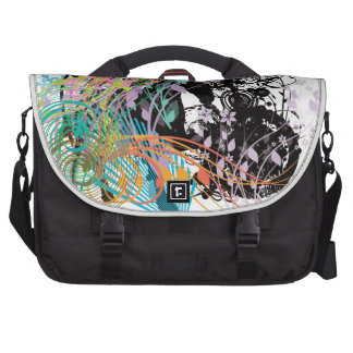 Horse and flower laptop messenger bag