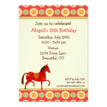 """Horse and Flowers Birthday Invitation for Girls 5"""" X 7"""" Invitation Card"""