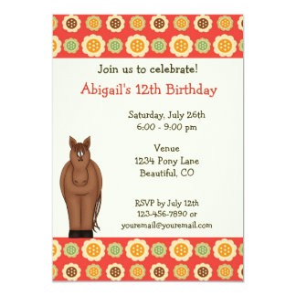 Horse and Flowers Birthday Invitation for Girls