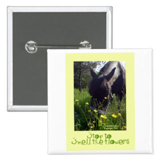 Horse and flowers button