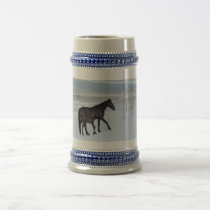 Horse and foal in snow beer stein