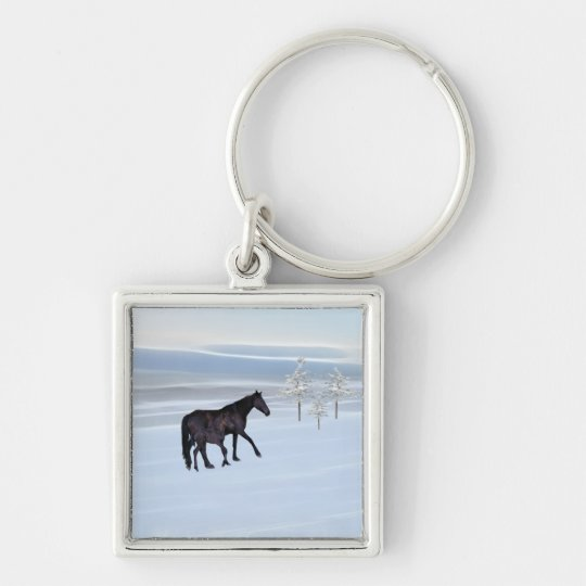 Horse and foal in snow keychain