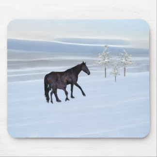 Horse and foal in snow mouse pad