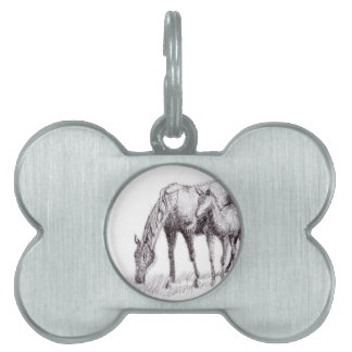 Horse and Foal Pen Drawing Pet ID Tag