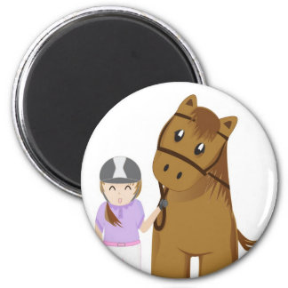 Horse and girl - Girl and horse 2 Inch Round Magnet