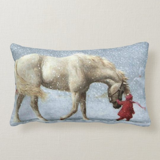 Horse and Girl in Snow Pillow