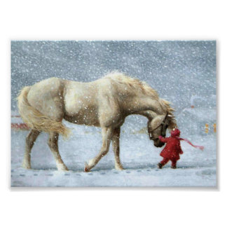 Horse and Girl Winter Poster