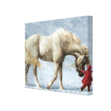 Horse and Girl Wrapped Canvas Canvas Print