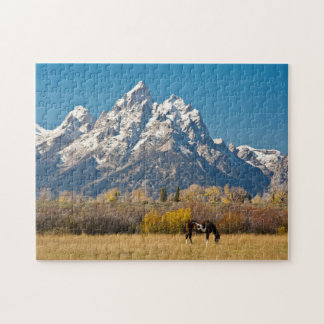 Horse and Grand Tetons, Moose Head Ranch Jigsaw Puzzle