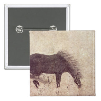 Horse and Groom in Winter Pinback Button