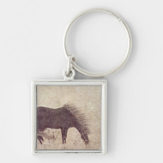 Horse and Groom in Winter Keychain