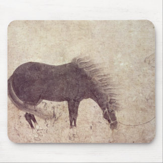 Horse and Groom in Winter Mouse Pad
