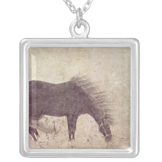 Horse and Groom in Winter Silver Plated Necklace