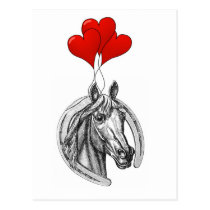 Horse and Hearts Postcard