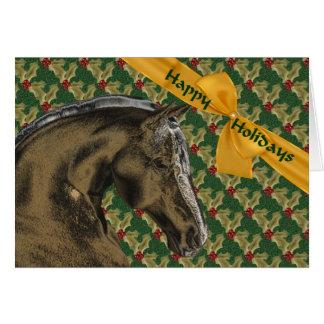 Horse And Holly Christmas Holiday Card