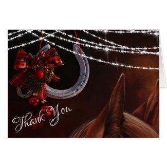 Horse and Horseshoe Christmas Holiday Thank You Card