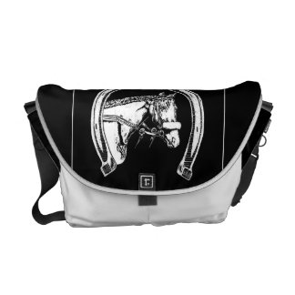 Horse and Horseshoe Scratch Art Courier Bag