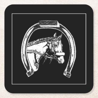 Horse and Horseshoe Scratch Art Square Paper Coaster