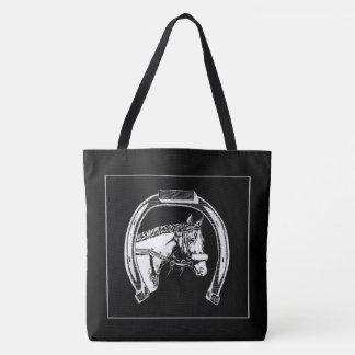 Horse and Horseshoe Scratch Art Tote Bag