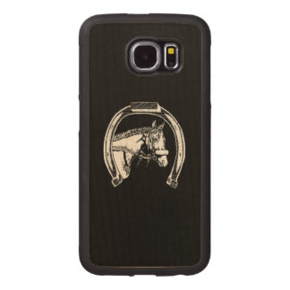 Horse and Horseshoe Scratch Art Wood Phone Case