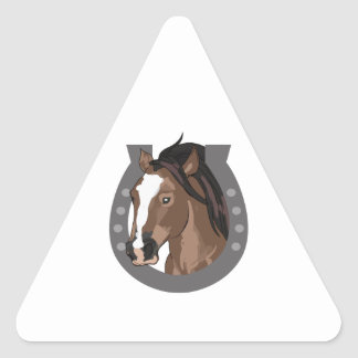 HORSE AND HORSESHOE TRIANGLE STICKER