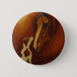 Horse and Jack Russell Button
