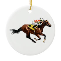 Horse And Jockey Ceramic Ornament