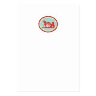 Horse and Jockey Harness Racing Rosette Retro Business Card Template