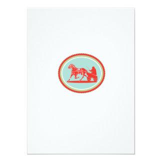 Horse and Jockey Harness Racing Rosette Retro 14 Cm X 19 Cm Invitation Card