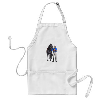 Horse and Jockey in Orange and Blue Adult Apron