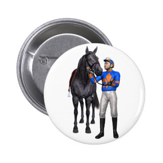 Horse and Jockey in Orange and Blue Button
