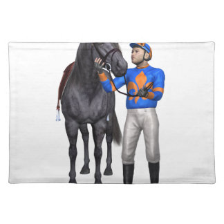 Horse and Jockey in Orange and Blue Cloth Placemat