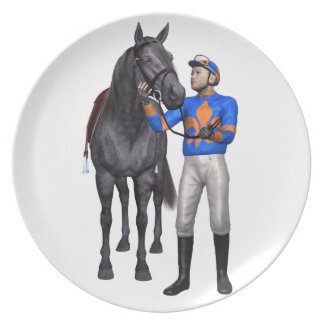 Horse and Jockey in Orange and Blue Plate
