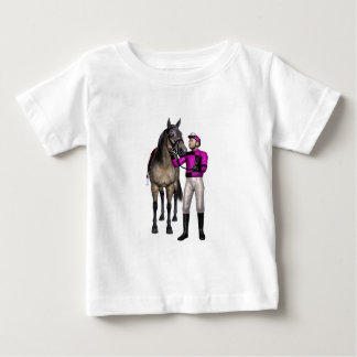 Horse and Jockey in Pink and Black Baby T-Shirt