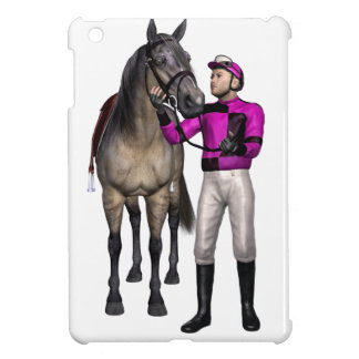 Horse and Jockey in Pink and Black Case For The iPad Mini