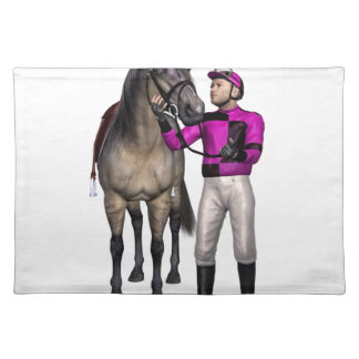 Horse and Jockey in Pink and Black Cloth Placemat