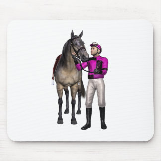 Horse and Jockey in Pink and Black Mouse Pad